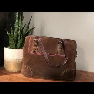 Suede brown and pink Coach bag